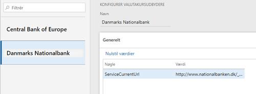 Opsætning med Danmarks Nationalbank som foretrukne leverandør af valutakurser til Dynamics 365 og Dynamics AX